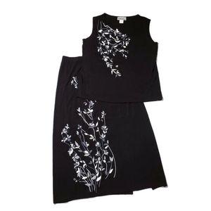 2pc Black Gray Flowers Tank Work Dress Skirt Set